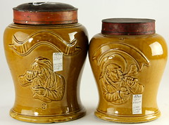 2002. Two English Pottery Snuff Jars