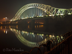 Smokey Reflection (Pete Marsden) Tags: uk bridge reflection river cheshire mersey runcorn widnes silverjubilee olympuse510 petemarsden