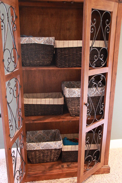 baskets on bookcase