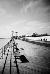 treading the boards (ho_hokus) Tags: blackandwhite bw usa newyork film beach monochrome brooklyn analog bench coneyisland coast lomo lca sand lomolca shore 35mmfilm pedestrians boardwalk pointandshoot benches kodakbw400cn compactcamera 2011 ny2011