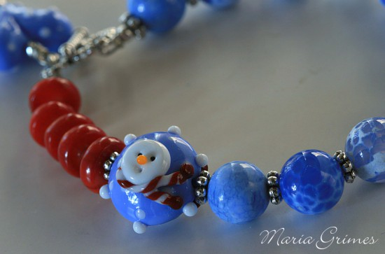 Let it Snow-Lampwork Bracelet