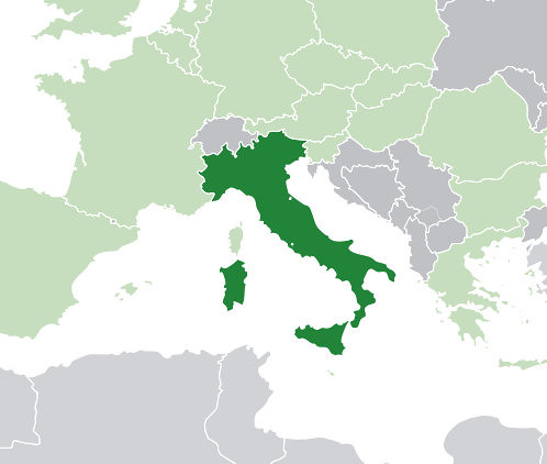 [photo-map of italy]