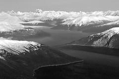 Winding through (closer) (Damon D. Edwards Photography) Tags: blackandwhite bw snow mountains alaska blackwhite nikon ak glacier takuinlet juneauak d7000