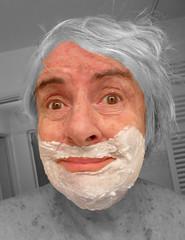 detail deux b (Julie70 Joyoflife) Tags: me self fun autoportrait humour shaving treatment shavingcream photoshopelements comique julie70 standupcomedian pourrire 77yearsold forthestandup autantenrire