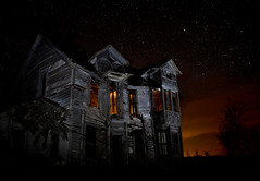 Heart of a Monster (Rodney Harvey) Tags: longexposure lightpainting abandoned night farmhouse stars scary evil eerie haunted creepy spooky abandonedhouse disturbing ghostly monsterhouse