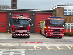 Staffordshire fire and rescue service scania and Dennis sabre appliances Lichfield fire station. (policeambulanefire) Tags: uk blue rescue station truck fire lights call engine pump sabre ladder dennis emergency firefighter staffordshire appliances scania lichfield 999 sirens pl serivce