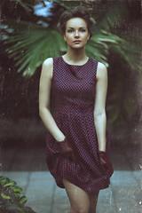Jaded II (Alexander Kuzmin Photography) Tags: portrait woman green girl female vintage fur haze glamour eyes availablelight naturallight lips retro stare dust scratch burlesque glance jaded alexanderkuzmin kuzmin