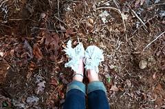 shoes (Jacob Seaton) Tags: feet girl grass leaves socks women shoes skin ground jeans soil dirt cloth lianerobinson