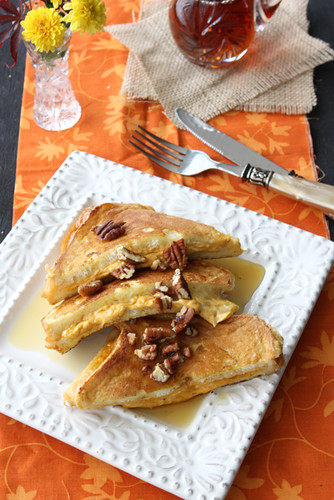 Pumpkin Stuffed French Toast Recipe with Toasted Pecans