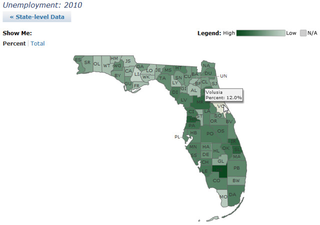 Florida: 2010 unemployment by county