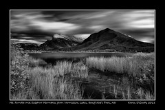 Mt. Rundle and Sulphur Mountain from Vermillion Lakes, Banff National Park, Alberta (kgogrady) Tags: park trees blackandwhite bw mountain lake canada mountains west reflection tree fall water grass rock clouds landscape rockies blackwhite nikon afternoon mt natural rocky noone ab nopeople canadian mount national alberta western infrared banff sulphur rockymountains mountrundle vermillion sulphurmountain rundle banffnationalpark mtrundle vermillionlake d700 singhrayirayfilter