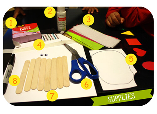 supplies for Popsicle Stick Calavera
