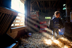 Hit by Sunbeams (Edwin van Nuil Photography) Tags: sun playing barn kid sunrays sunbeams balloo x100 fujifinepixx100