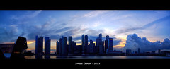 Sunset Chaser Panorama, Singapore (dxsibo o(_)o) Tags: blue sunset sky panorama sun black film landscape singapore factory fuji view over kitlens handheld pro cbd lv mbs chaser s5 2011 boders