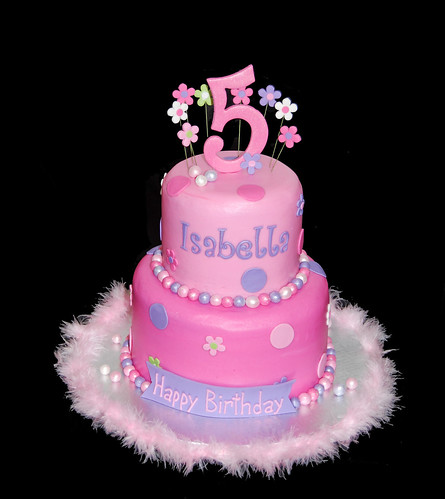 pink and purple very girly 5th birthday cake