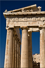 East Pediment, The Parthenon (Jill Clardy) Tags: cruise blue sky architecture greek mediterranean day columns athens parthenon clear greece jade 100views restoration marble acropolis pediment ionic ncl 5098 pentelic