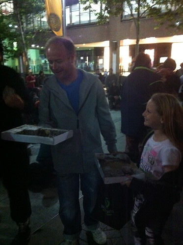 Occupy Sydney - a family bring lamingtons in support
