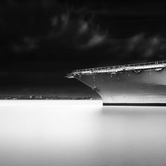 USS Midway Aircraft carrier in San Diego, CA - Objects of Power I (Joel Tjintjelaar) Tags: sandiego longexposurephotography nd110 joeltjintjelaar blackandwhitefineartphotography fineartarchitecturalphotography fineartarchitecture internationalawardwinningphotographer architecturallongexposurephotography blackandwhitefineartarchitecturalphotography