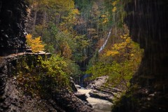 Autumn Waterfall (blmiers2) Tags: park morning autumn trees newyork color tree green fall nature water landscape waterfall nikon october 2011 d3100 blm18 blmiers2