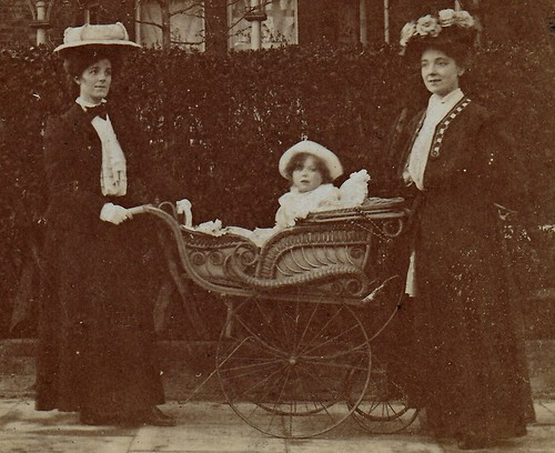 Two ladies and a baby in a pram. (enlarged detail)