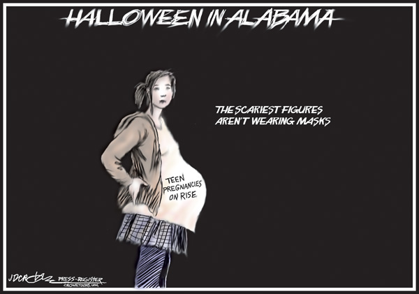 Poster of a pregnant girl. Text reads: Halloween in Alabama--the scariest things aren't wearing masks
