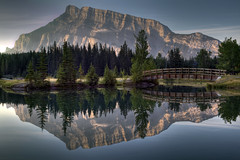 Cascade Pond (Jeremy Duguid) Tags: park bridge trees canada mountains reflection sunrise rockies pond bravo mt jeremy canadian mount national alberta banff cascade 1000 rundle duguid coth platinumphoto colorphotoaward jeremyduguid