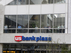 Onlookers at a protest against US Bank at OccupyMN - Day 20