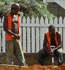 Consolation (Legin_2009) Tags: road street shirtless people man black male men guy hat standing work fence outside outdoors person persona stand workers construction sitting gente african caps working hats guys personas jeans cap sit mens males worker caribbean mann persons shovel sagging shovels sag hombre hommes homme hombres mec homens bluecollar picketfence herren люди mecs mannes 男子 男性 אנשים الرجال saggerz पुरुषों