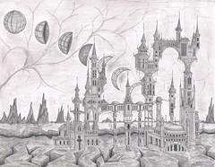 Questionable Gravity (tranquilometro) Tags: fiction castle art architecture pencil sketch hand drawing magic gothic science gravity scifi sciencefiction fi drawn amateur sci blinkagain