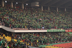Beijing Guoan supporters with their scarfs