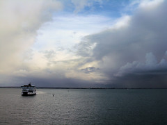 The ferry arriving (shaggy359) Tags: sea cloud storm water freeassociation rain weather ferry clouds boat ship rainy isleofwight solent arrive portsmouth raining markers wight fishbourne arriving wightline