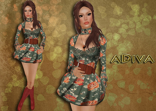 aDiva couture Riel Lace Dress Moss