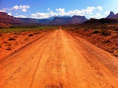 Red Dirt Road - Moab, Utah (Brian DeFrees) Tags: road red clouds utah rocks desert dirt moab travelphoto