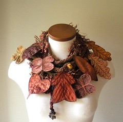 Long and Leafy Scarf- Sienna Tweed with Rust, Brown, and Golden Embroidered Leaves (Betsie Withey) Tags: flowers autumn brown motion tree art nature leaves mi forest scarf woodland botanical gold leaf women knitting rust felting handmade embroidery michigan unique cinnamon crochet inspired sienna knit handknit free vine folklore elf fairy fantasy jungle mustard accessories organic etsy wearable fiberart rowan embroidered autumnal saugatuck faerie enchanted summertweed fantastical arttowear artscarf fairywear betsiewithey