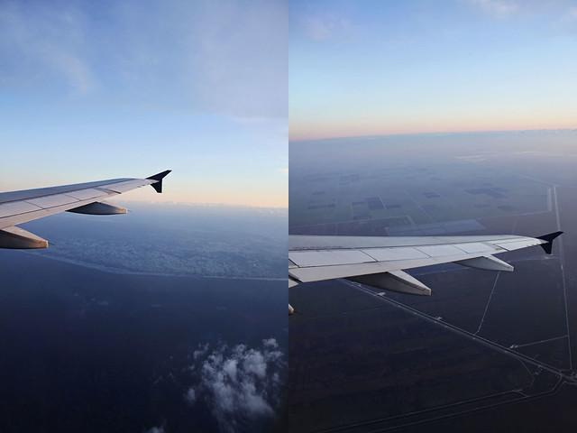 airplane sunrise diptych