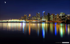 Vancouver's November Skyline (Clayton Perry Photoworks) Tags: moon skyline night vancouver reflections lights stanleypark hdr