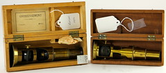 2011. Two Early Boxed Brass Microscopes