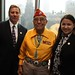 Navajo Nation Washington Office staff Tom Gordon, Navajo Code Talker Frank Chee Willeto and Navajo Nation Washington Office Executive Director Clara Pratte at a reception and silent auction hosted by HBO in New York City. Nov. 10, 2011.  This Navajo Nation Washington Office photograph is being made available only for publication by news organizations and/or for personal use printing by the subject(s) of the photograph. The photograph may not be manipulated in any way and may not be used in commercial or political materials, advertisements, emails, products, and promotions.