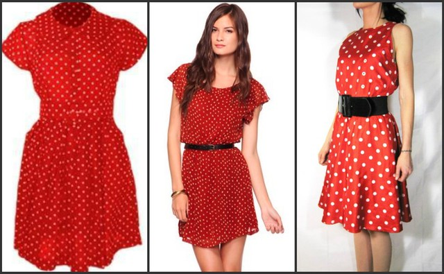 red polka dot dress collage