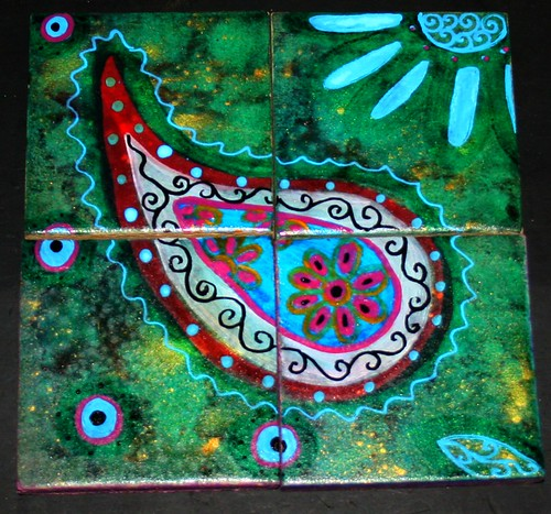 Hand Painted Paisley Ceramic Coasters by Rick Cheadle Art and Designs