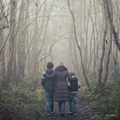 safe travels ({cindy}) Tags: family grandma autumn trees portrait mist holland fall netherlands kids forest square woods bare