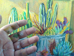 Yellow House Cactus with wax pastel on hand (Marcia Milner-Brage) Tags: california cactus joshuatree neocolorii