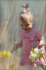 spring time (gruntpig) Tags: pink flowers cute texture girl beautiful smile face yellow hair golden spring nice eyes pretty play dress sweet joy textures bow daffodils