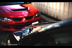 Nose2Nose (Kraft Photography) Tags: red black fast clean mitsubishi awd evo boost boosted