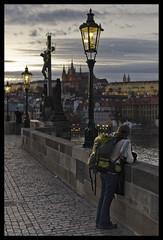 92/366 - Loneliness in Prague (J_CubiC_Z) Tags: street girl evening loneliness prague streetlamp praha czechrepublic charlesbridge praguecastle lonelygirl 366project nikkor35mmf18g nikond7000