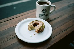 getting barreled (Terry Barentsen) Tags: sanfrancisco california coffee four kodak barrel contax doughnut t3 portra 160 2011 sfca
