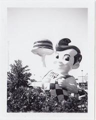 Azar's Big Boy (ilovecoffeeyesido) Tags: bw analog polaroid bigboy packfilm fortwaynein bwfilm blackandwhitefilm instantfilm polaroidcolorpackiiilandcamera fujifp100b bigboystatue waynedale azarsbigboy blackandwhiteinstantfilm bwinstantfilm
