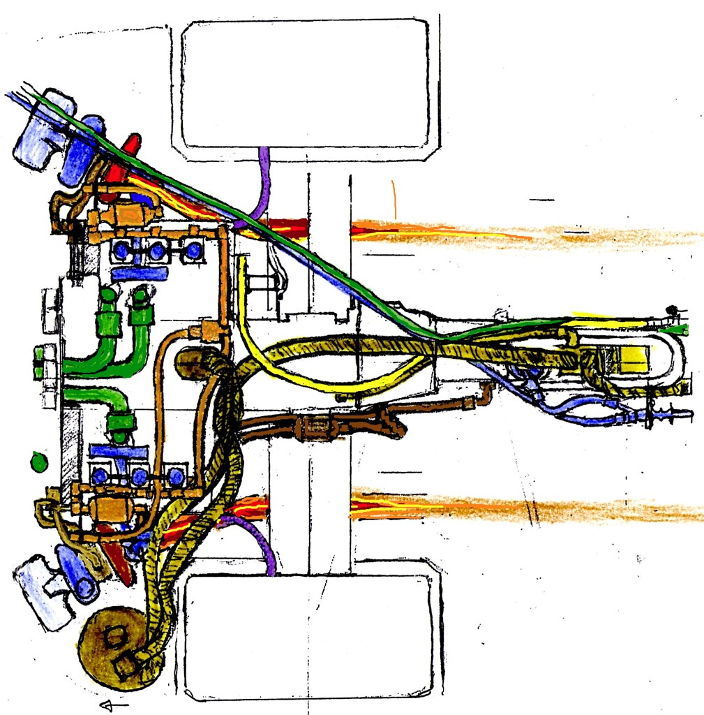 Porsche 911 GT1 engine subsystems cartoon
