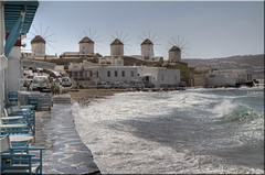 The Mykonos Windmills (Jill Clardy) Tags: blue sea sky cafe surf day waves aegean windmills clear greece sidewalk hora 100views mykonos mikonos npw 3689 3690 3688