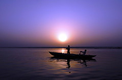 Varanasi sunrise (blasaure) Tags: india sunrise river boat ride horizon varanasi ganga rower boatride ganges banaras benares